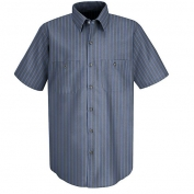 Red Kap Men\\\'s Industrial Stripe Poplin Work Shirt - Short Sleeve - Grey/Blue Stripe