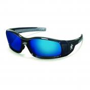 Crews Swagger Safety Glasses - Black Frame - Blue Mirror Lens