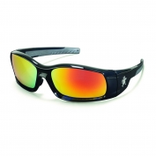 Crews Swagger Safety Glasses - Black Frame - Fire Mirror Lens