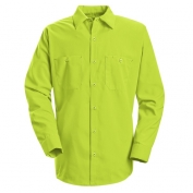 Red Kap Enhanced Visibility Work Shirt - Long Sleeve - Fluorescent Yellow/Green