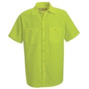 Red Kap Enhanced Visibility Work Shirt - Short Sleeve - Fluorescent Yellow
