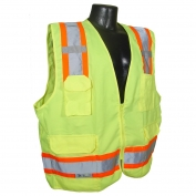 Radians SV62-2ZGT Class 2 Solid Twill Heavy Duty Surveyor Safety Vest - Yellow/Lime