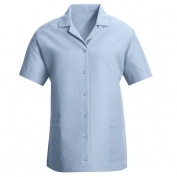 Red Kap Women\\\'s Loose Fit Short Sleeve Smock - Gripper Front - Light Blue