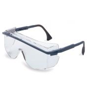 Uvex Astro OTG 3001 Safety Glasses - Blue Frame - Clear Anti-Fog Lens