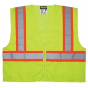 River City VWCCL2LFR Economy Class 2 Limited Flammability Two-Tone Safety Vest - Yellow/Lime