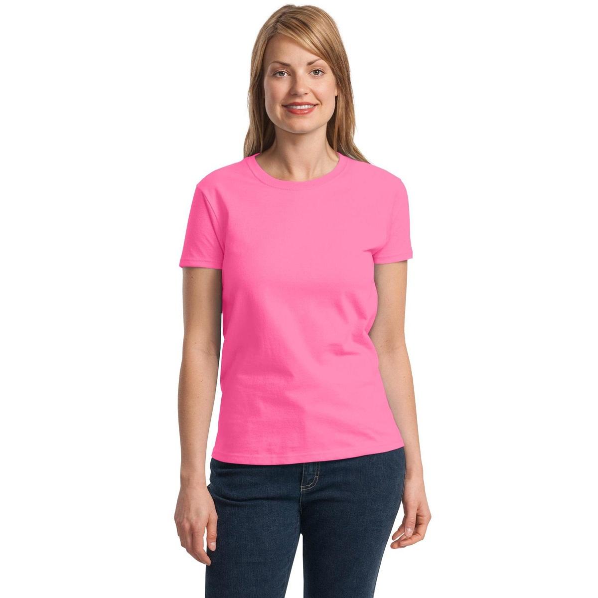 Gildan 2000l women 39 s ultra cotton t shirt safety pink for Pink ladies tee shirts