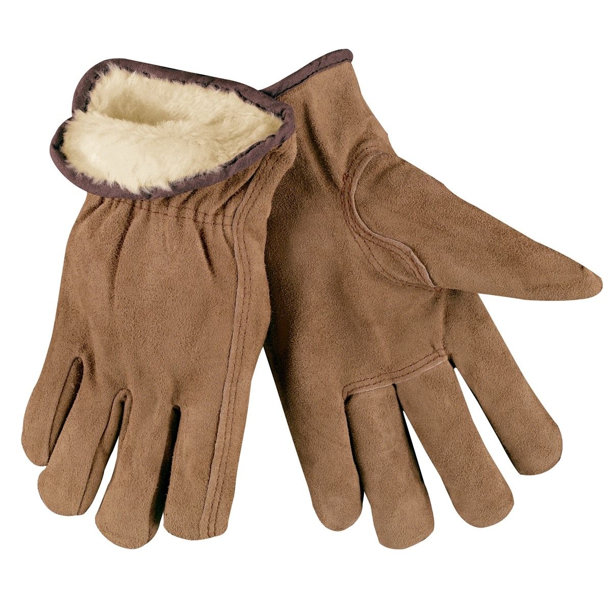 Leather work gloves with wool lining - Memphis 3170 Split Cowhide Leather Driver Gloves Acrylic Pile Lined Keystone Thumb