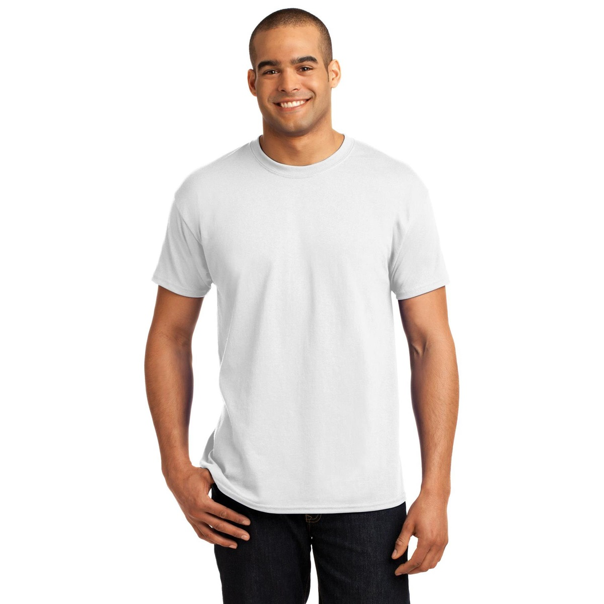 Hanes 5170 comfortblend ecosmart cotton polyester t shirt for Poly blend t shirts wholesale