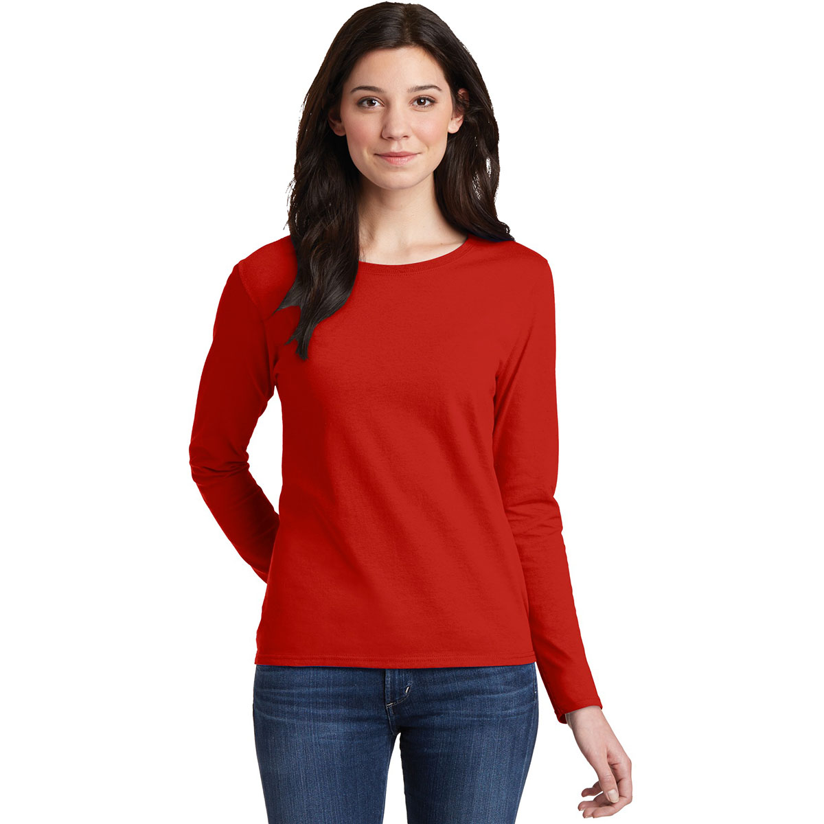 Gildan 5400l ladies heavy cotton long sleeve t shirt red for Womens long sleeved t shirts