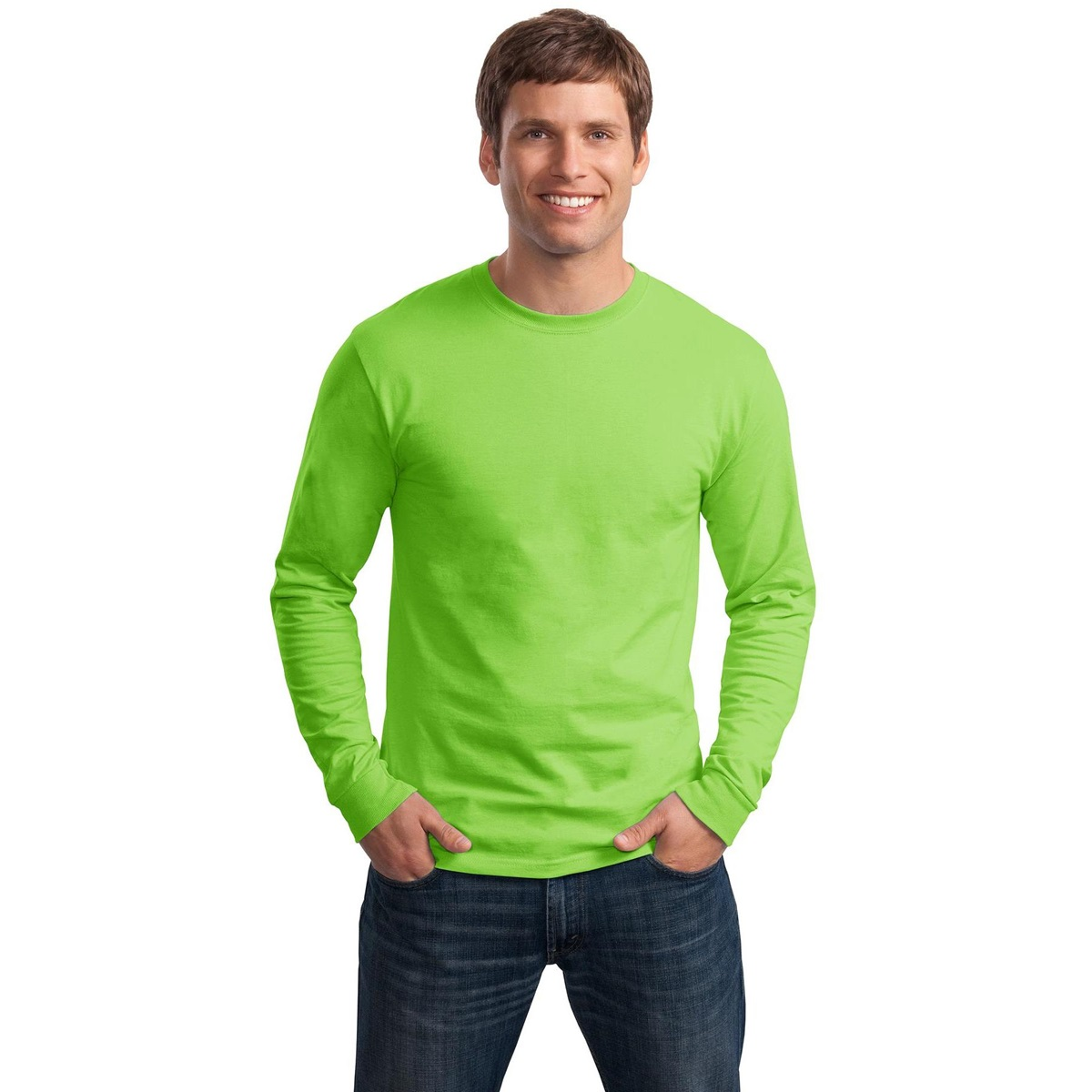 Hanes 5586 Tagless Cotton Long Sleeve T-Shirt - Yellow ...