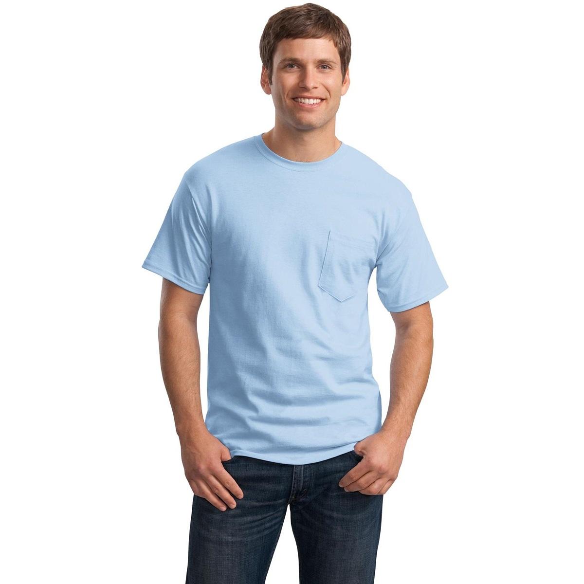 Hanes 5590 Tagless Cotton T Shirt With Pocket Light Blue
