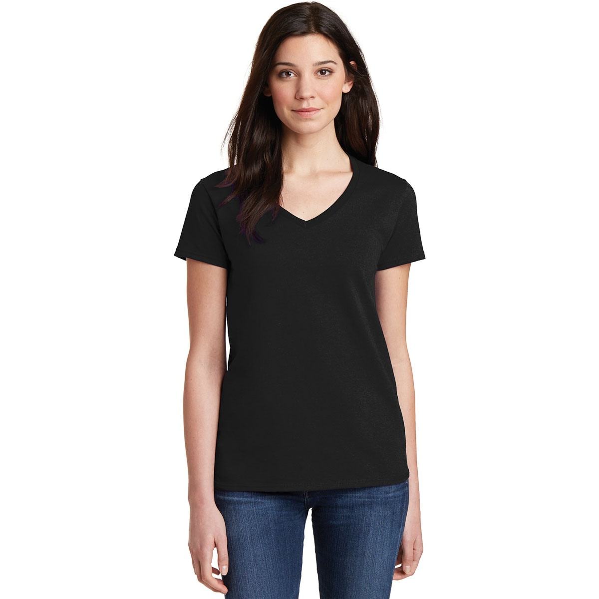 Gildan 5v00l ladies heavy cotton v neck t shirt black V neck black t shirt