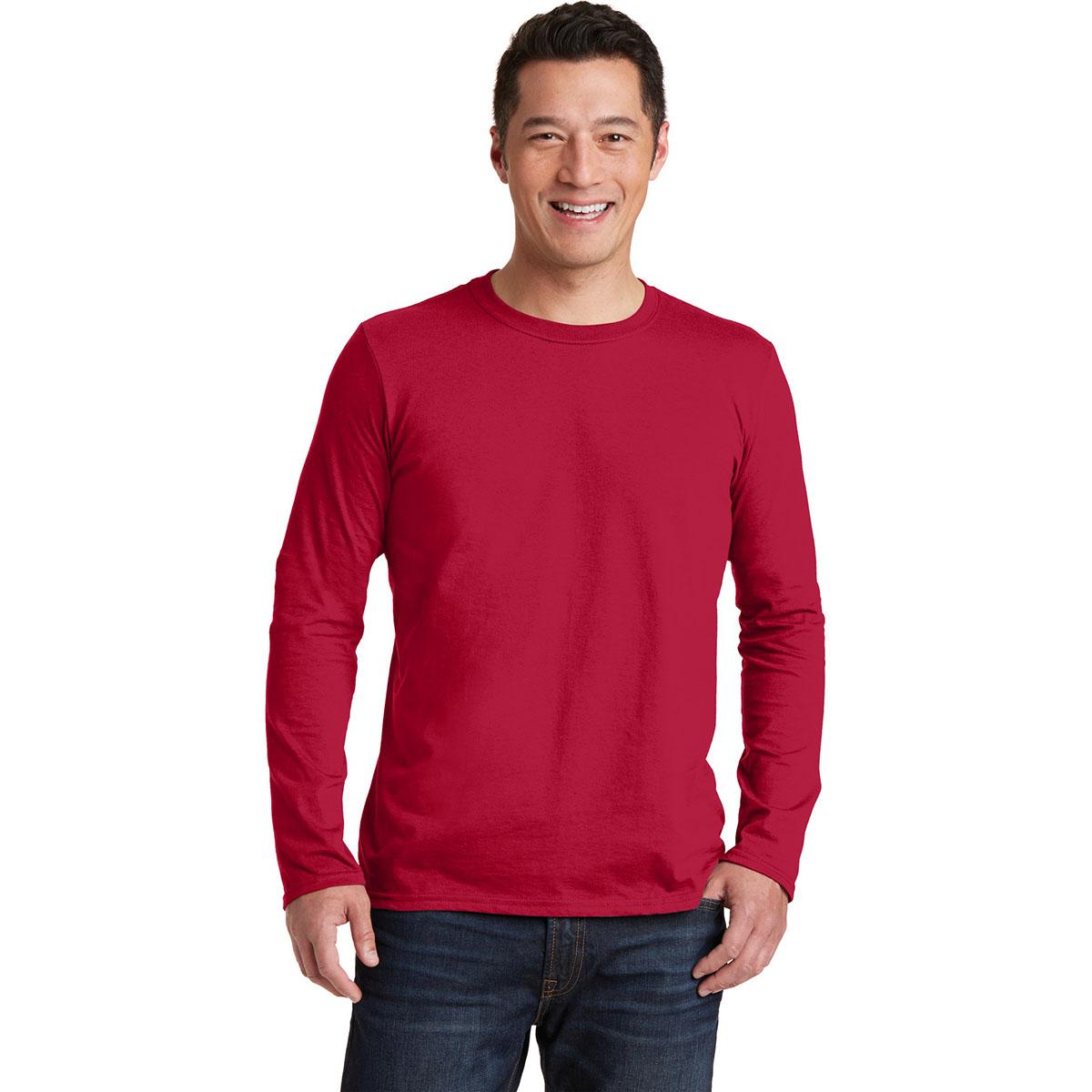 gildan 64400 softstyle long sleeve t shirt cherry red