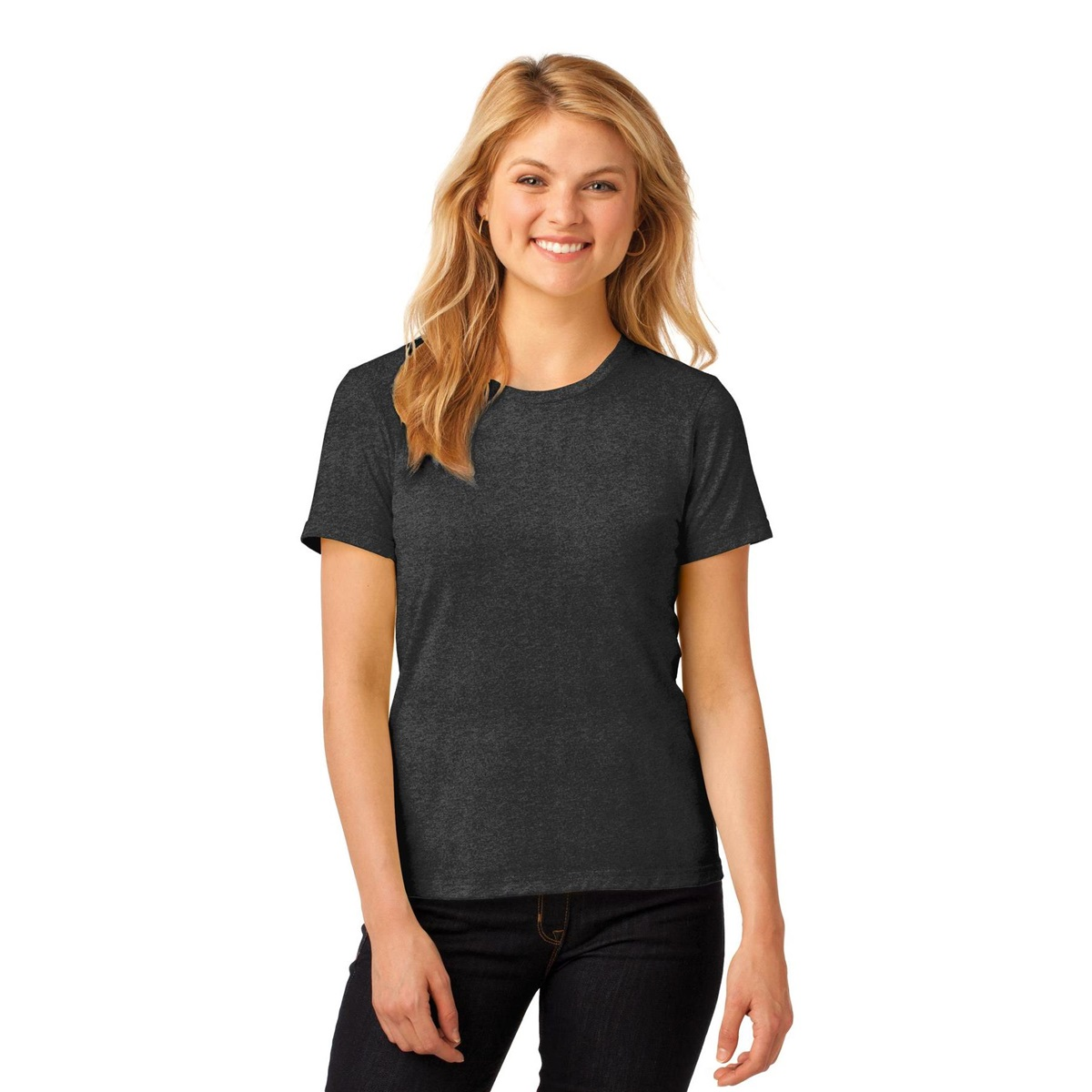 Anvil 880 Ladies Ring Spun Cotton T Shirt Heather Dark
