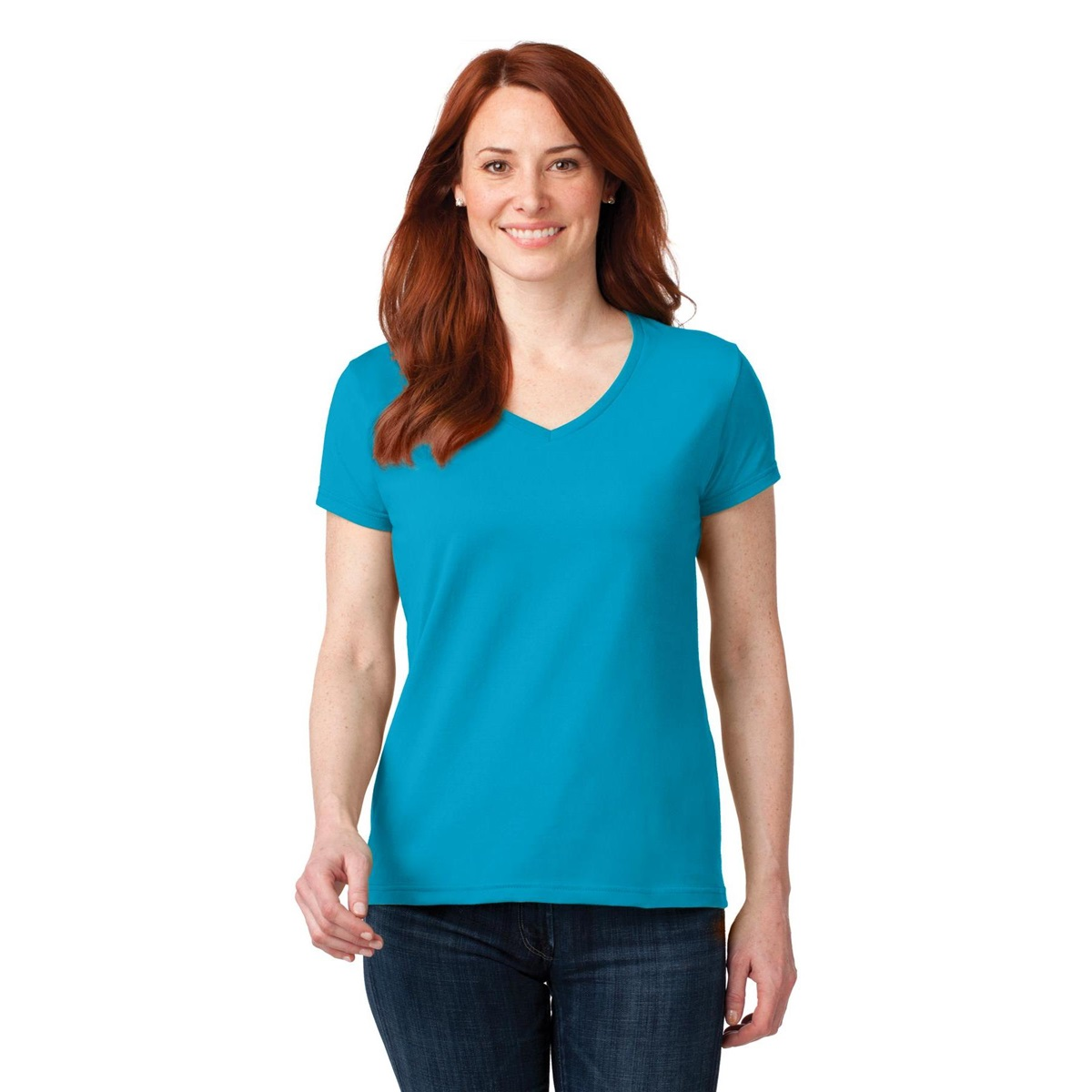 Anvil 88vl ladies 100 ring spun cotton v neck t shirt for Where are anvil shirts made