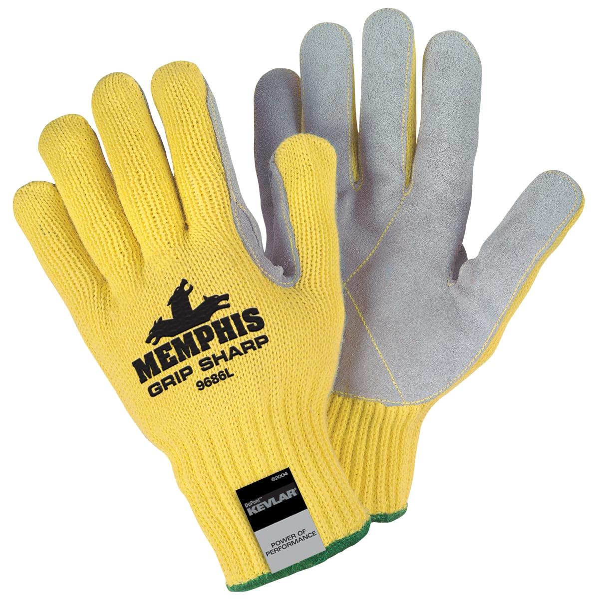 Memphis 9686 Grip Sharp Leather Palm Gloves Kevlar Shell