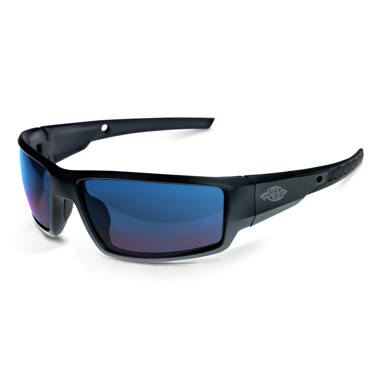 crossfire 41626 cumulus safety glasses black frame blue mirror lens. Black Bedroom Furniture Sets. Home Design Ideas
