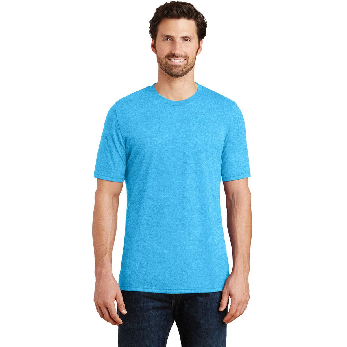 district made dm130 mens perfect tri crew tee turquoise