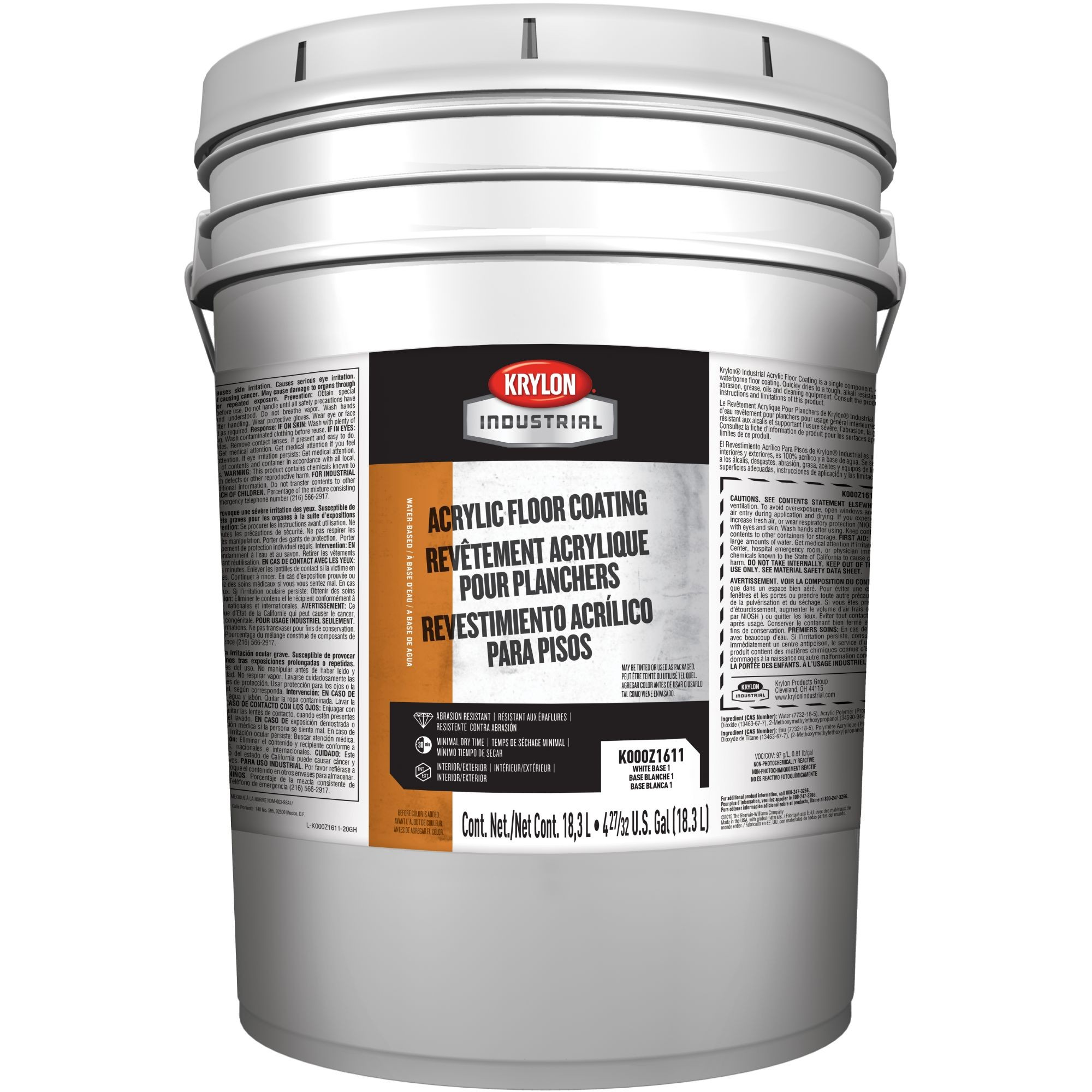 Krylon K000z1611 20 Acrylic Floor Coating White Base 1