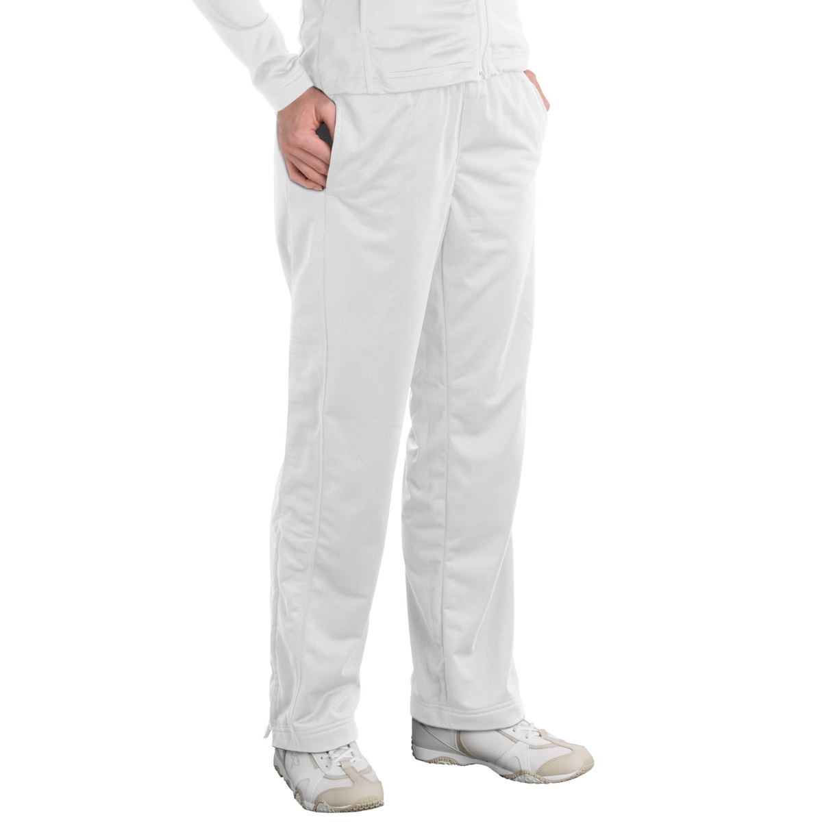 Sport-Tek LPST91 Ladies Tricot Track Pants - White | FullSource.com