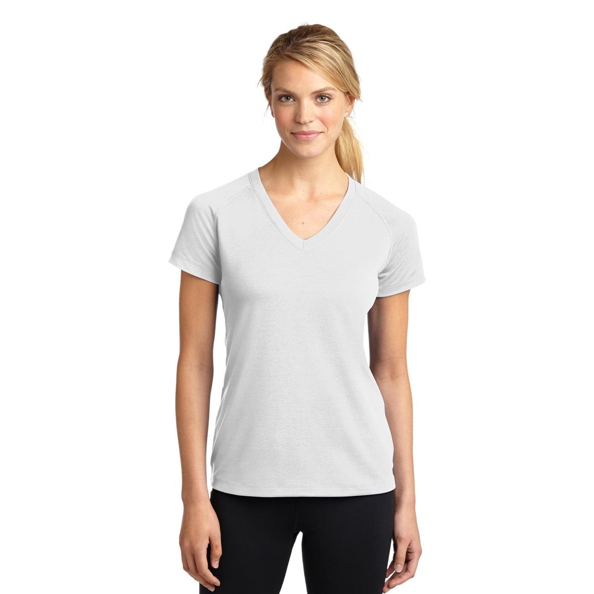 Sport tek lst700 ladies ultimate performance v neck t for White t shirt v neck