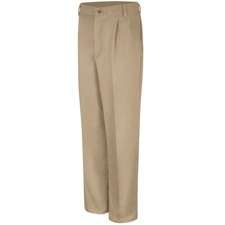 Red Kap Pc46 Men 39 S Pleated Front Cotton Pants Khaki