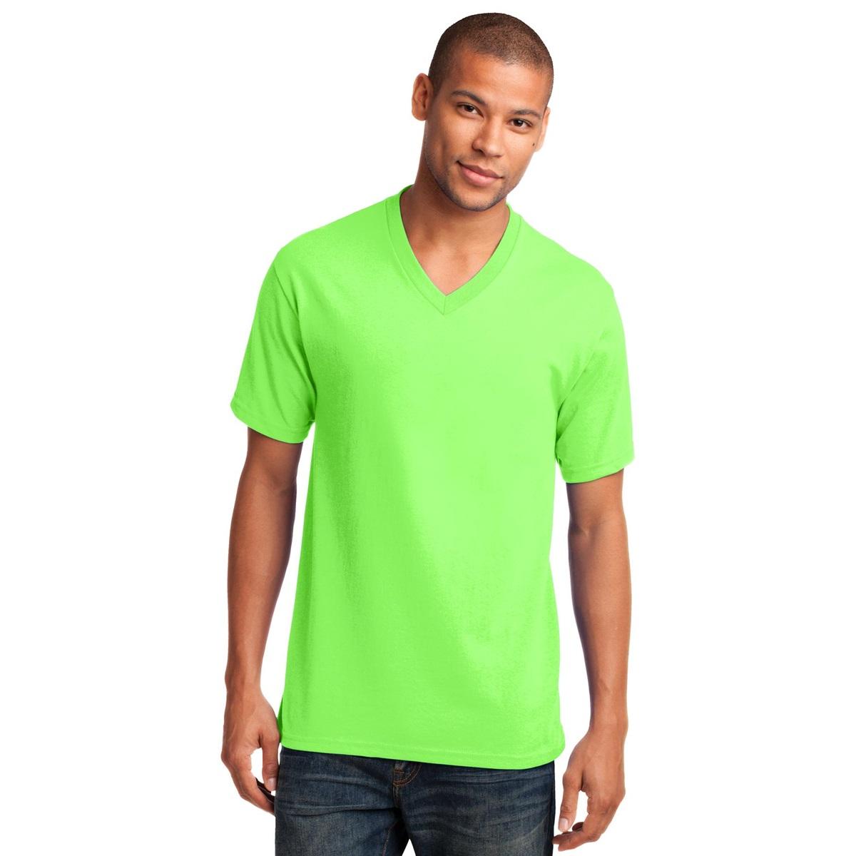 Port Amp Company Pc54v 5 4 Oz Cotton V Neck T Shirt Neon