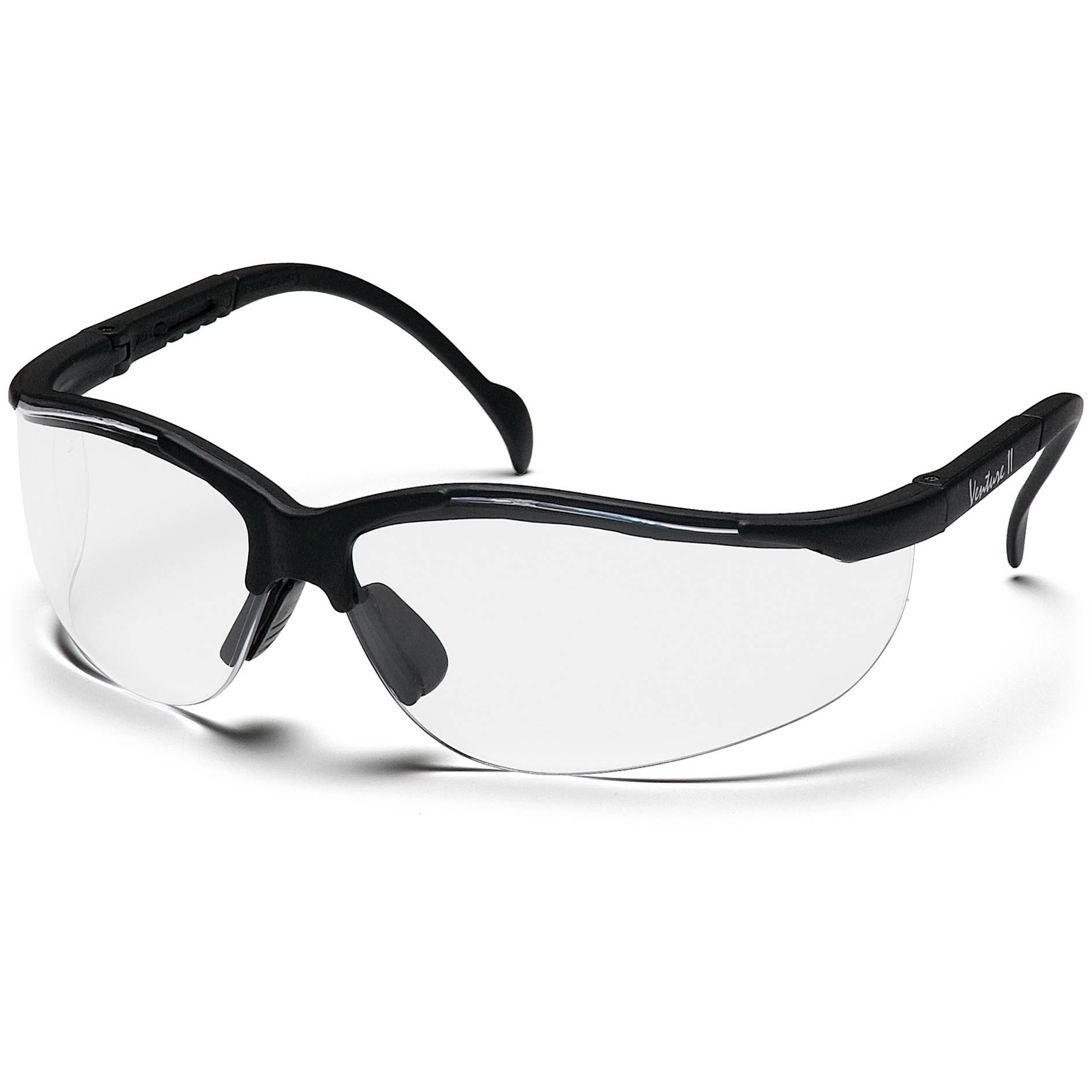 Black Frame Glasses Clear Lens : Pyramex Venture II Safety Glasses - Black Frame - Clear ...