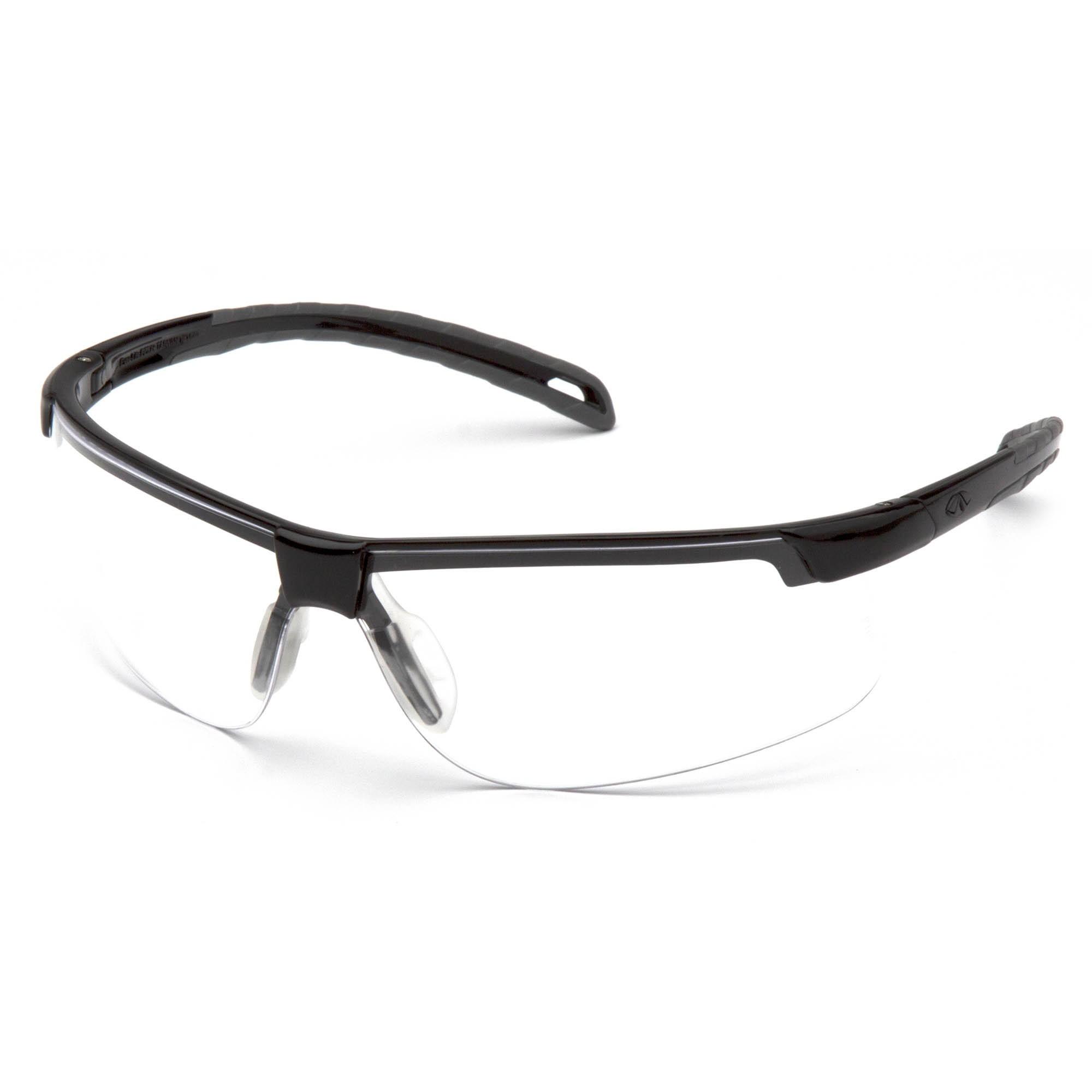 Black Frame Glasses With Clear Lenses : Pyramex Ever-Lite Safety Glasses - Black Frame - Clear ...