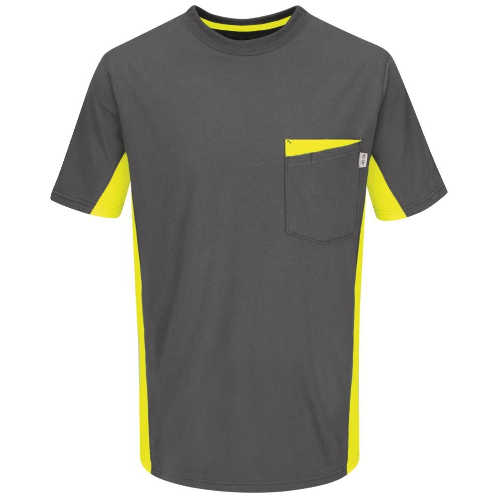 Red kap rt32yg color blocked hi viz work t shirt safety for Safety logo t shirts