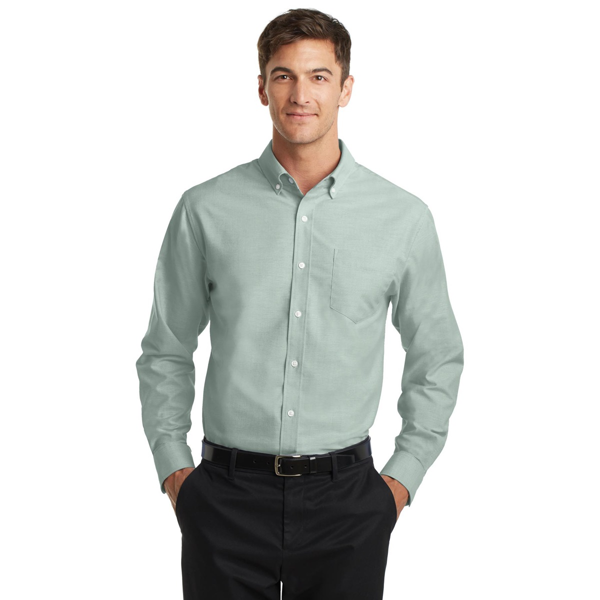 Port authority s658 superpro oxford shirt green for Mens blue oxford shirt