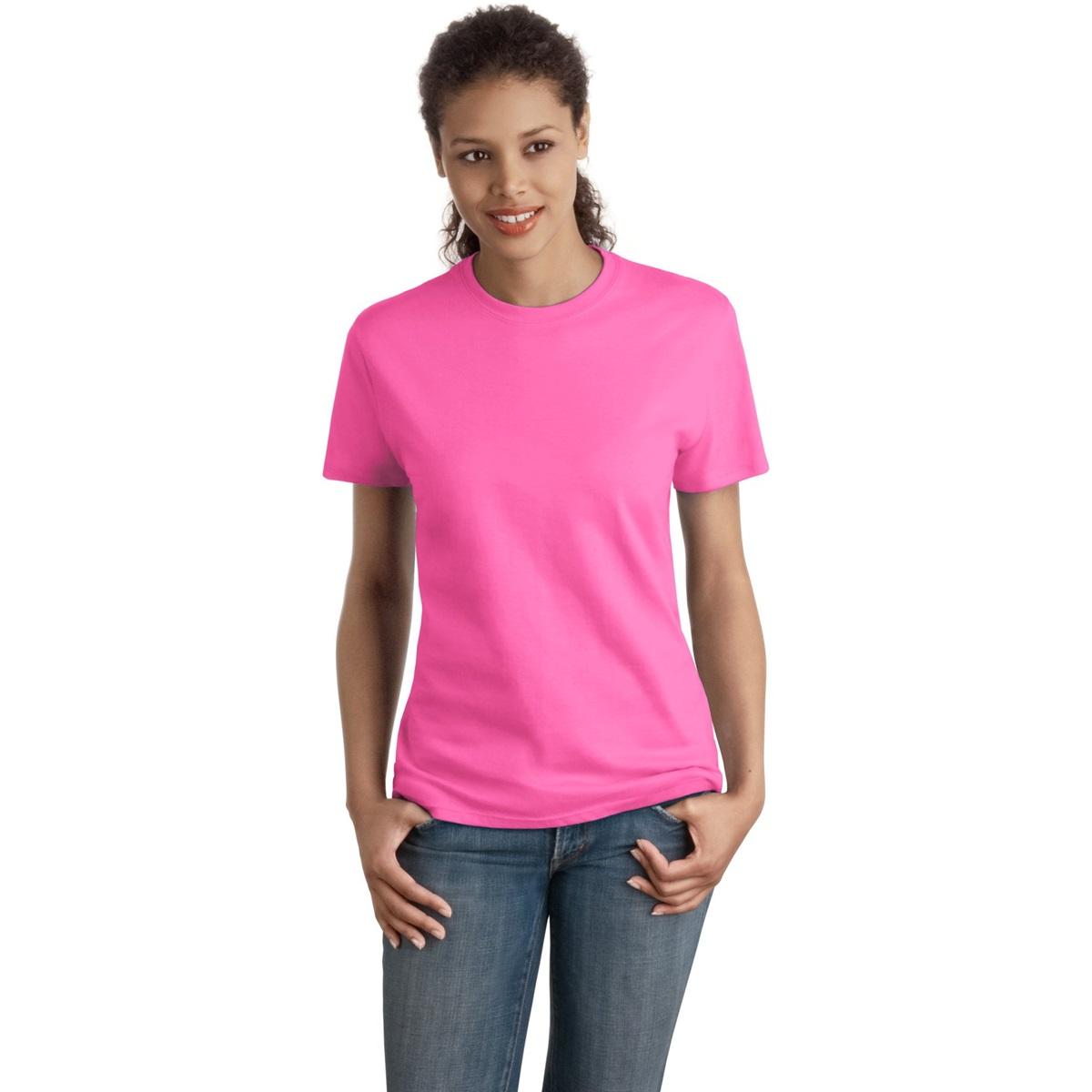 Hanes sl04 ladies nano t cotton t shirt pink for Pink ladies tee shirts