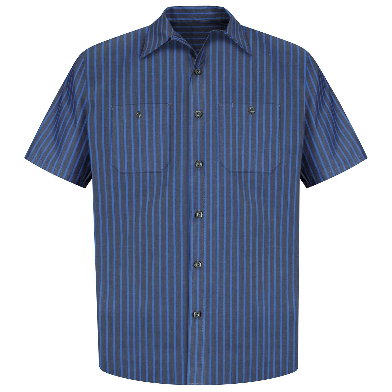 Red Kap Sp24 Men 39 S Industrial Stripe Poplin Work Shirt