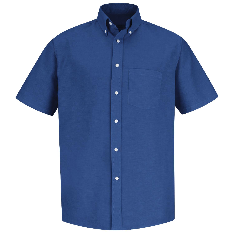 Red kap men 39 s executive oxford dress shirt short sleeve for French blue oxford shirt