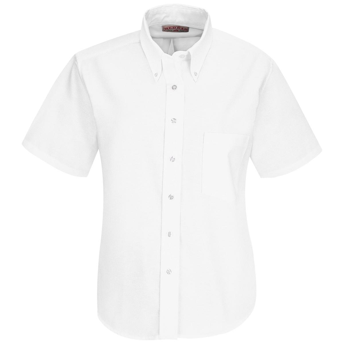 Red kap women 39 s executive oxford dress shirt short for Short sleeve white dress shirt