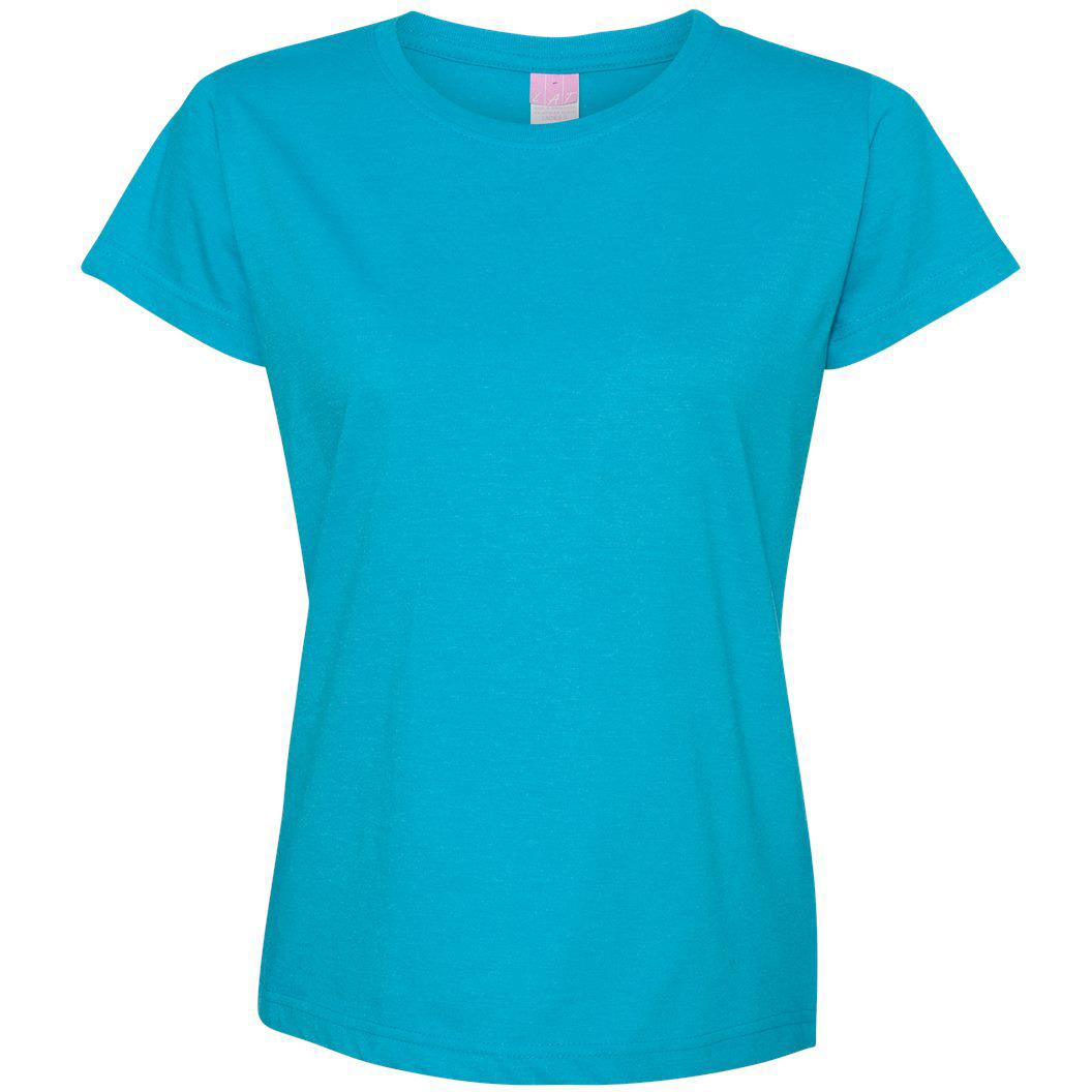 Lat 3505 women 39 s vintage fine jersey longer length t shirt for Aqua blue color t shirt