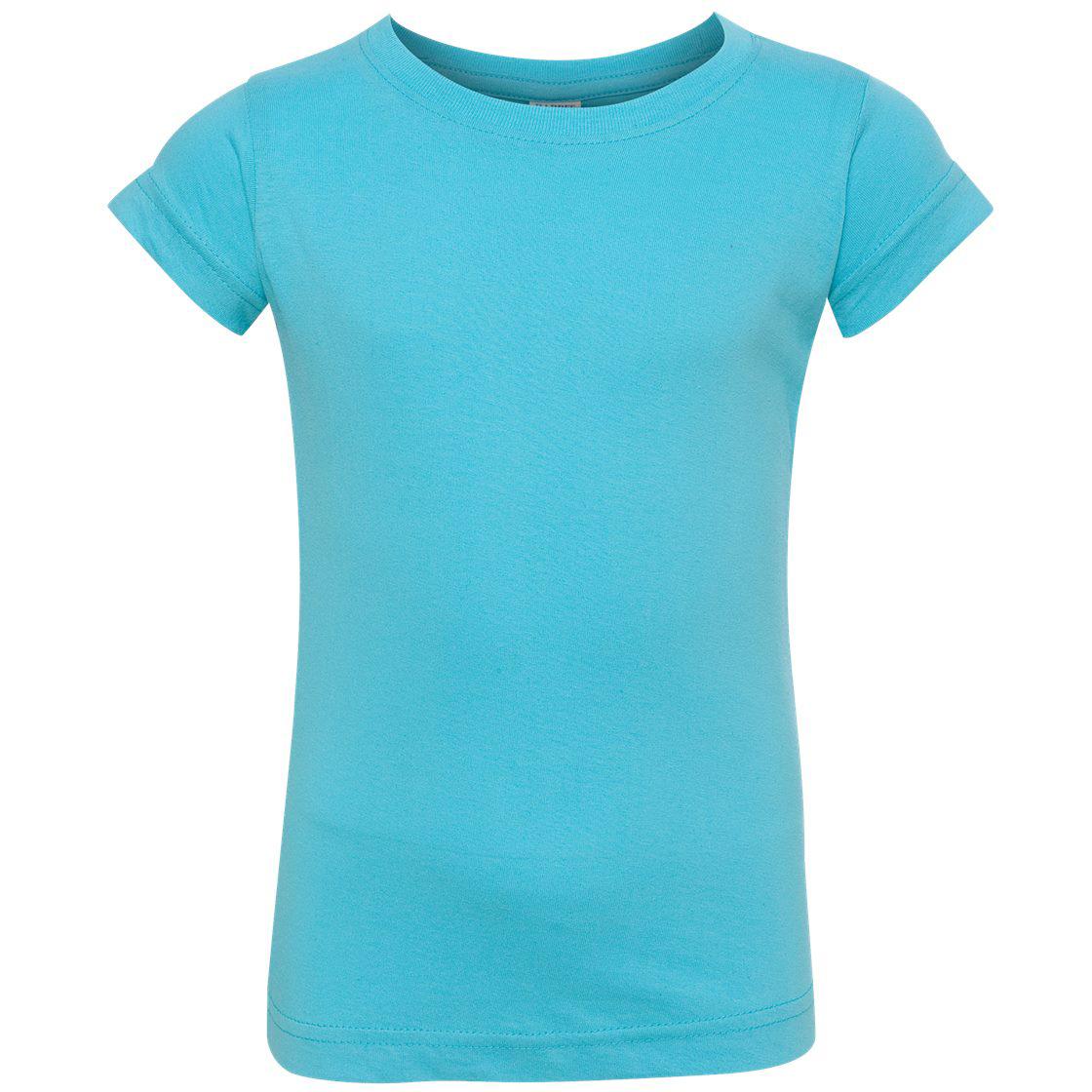 Rabbit skins 3316 fine jersey toddler girl 39 s t shirt for Aqua blue color t shirt