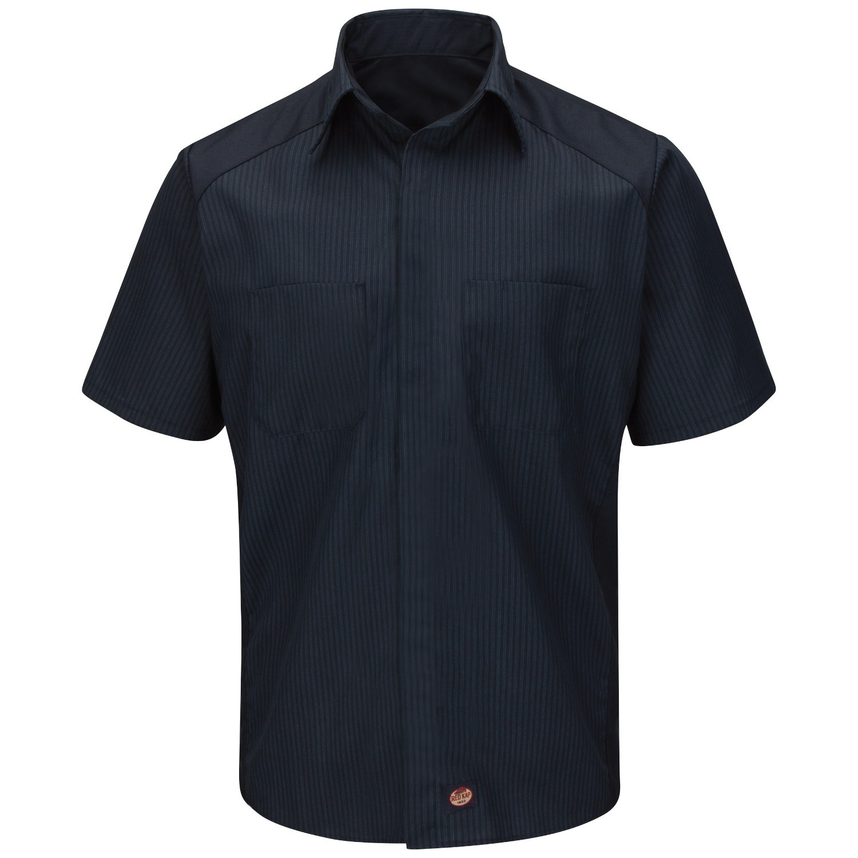 Red Kap Sy40 Striped Color Block Shirt Short Sleeve