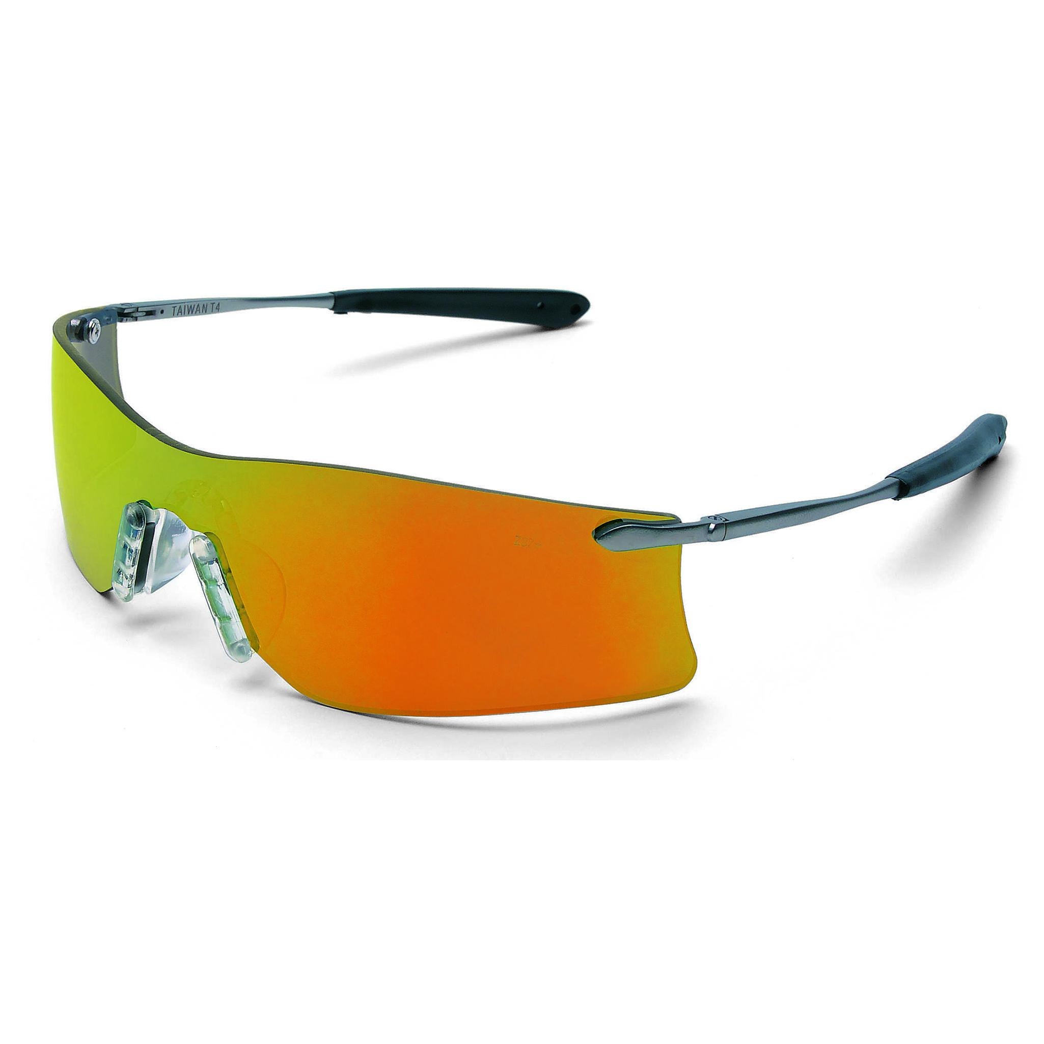 crews rubicon safety glasses silver metal frame fire mirror lens