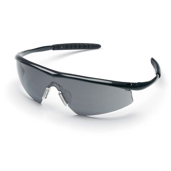Crews Tremor Safety Glasses - Black Frame - Gray Lens ...