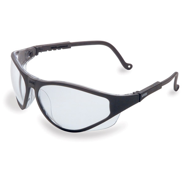 uvex u2 safety glasses black frame clear lens