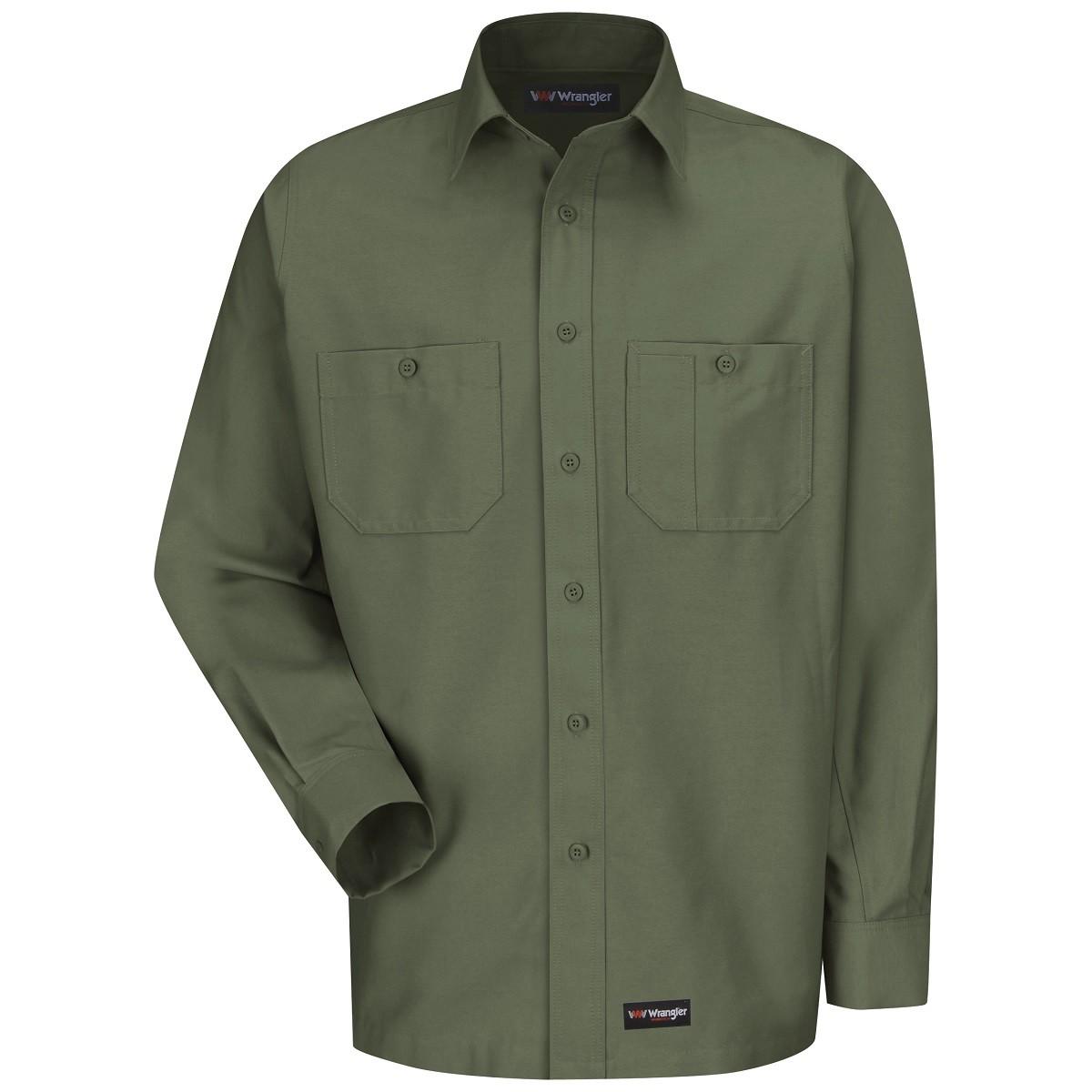 Wrangler Ws10 Men 39 S Long Sleeve Work Shirt Olive Green
