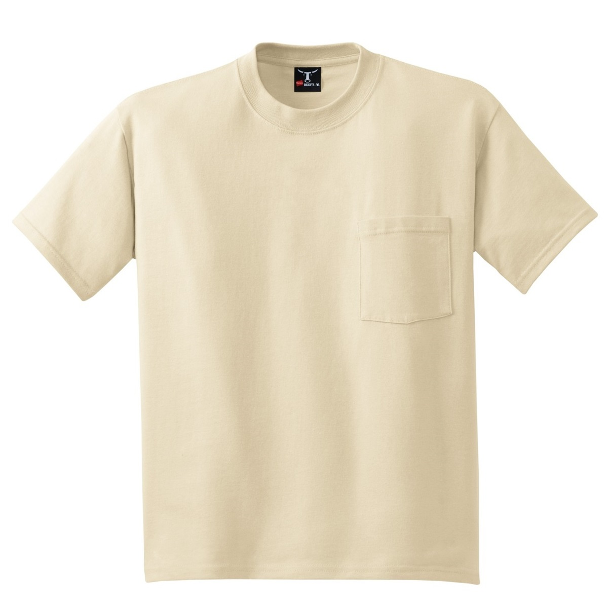 Hanes 5190 beefy t cotton t shirt with pocket sand for Hanes beefy t custom shirts
