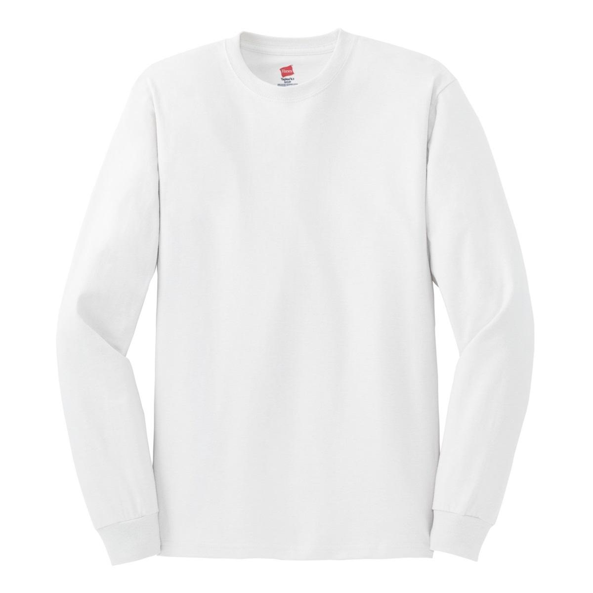 Hanes 5586 tagless cotton long sleeve t shirt white for White cotton long sleeve t shirt
