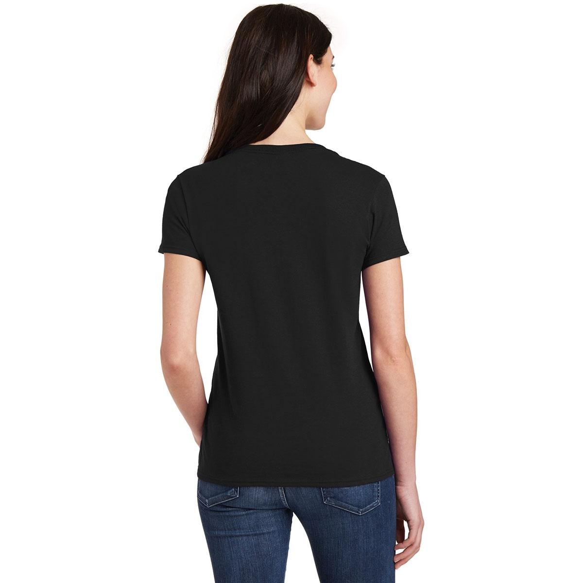 Gildan 5v00l ladies heavy cotton v neck t shirt black for V neck back shirt