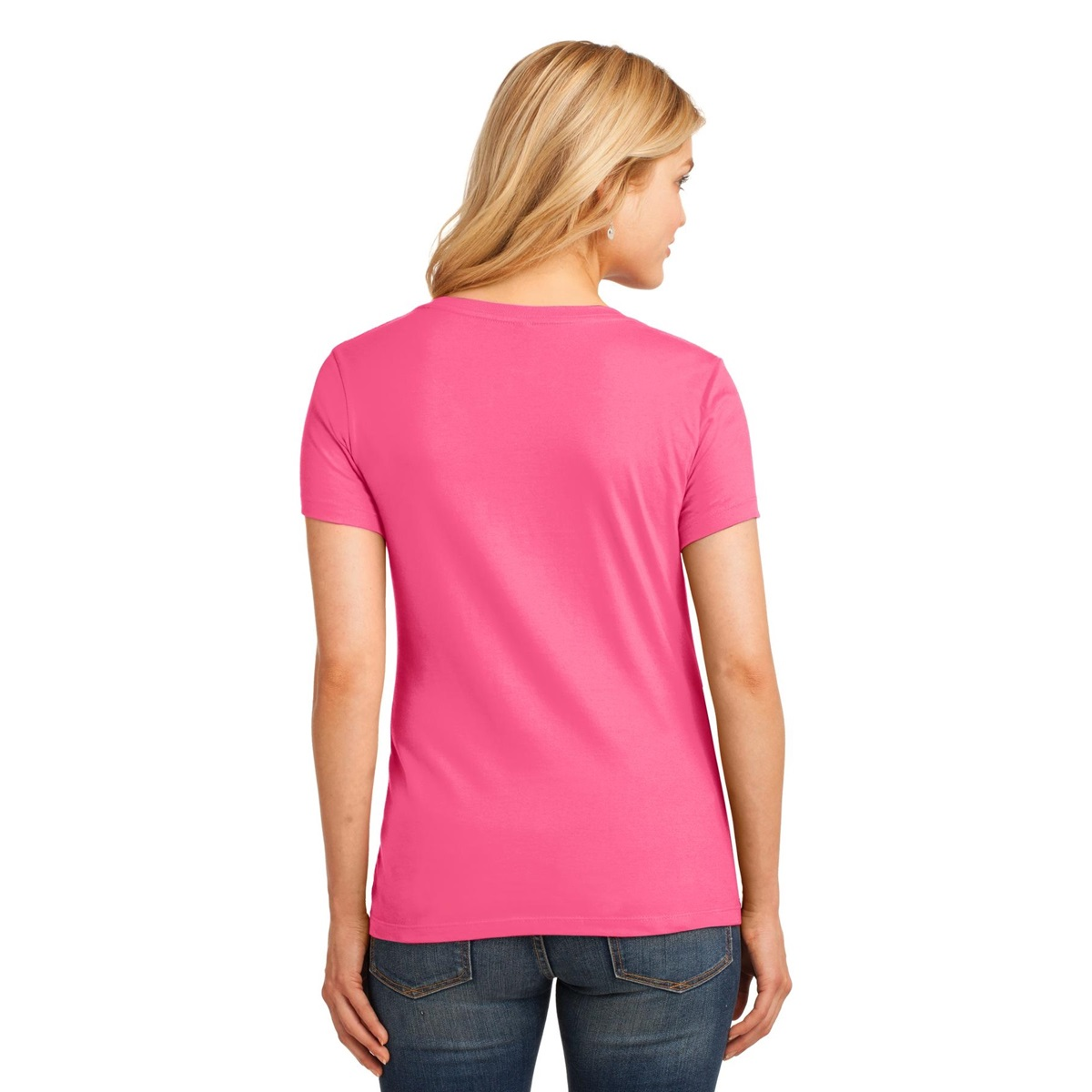 Port & Company LPC54V Ladies 5.4-oz Cotton V-Neck T-Shirt - Neon ...