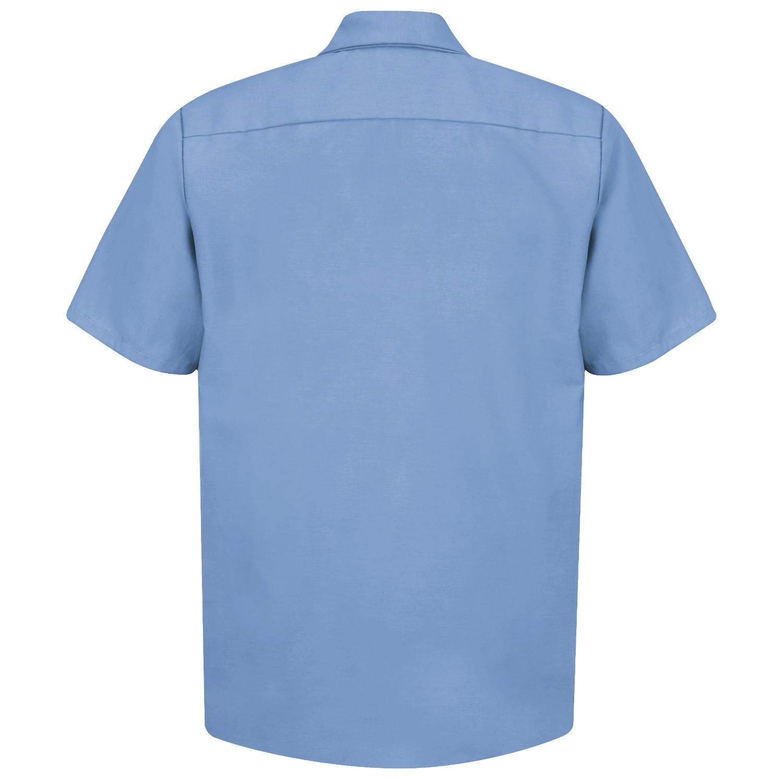 Red kap sp24 men 39 s industrial work shirt short sleeve for Light blue work shirt