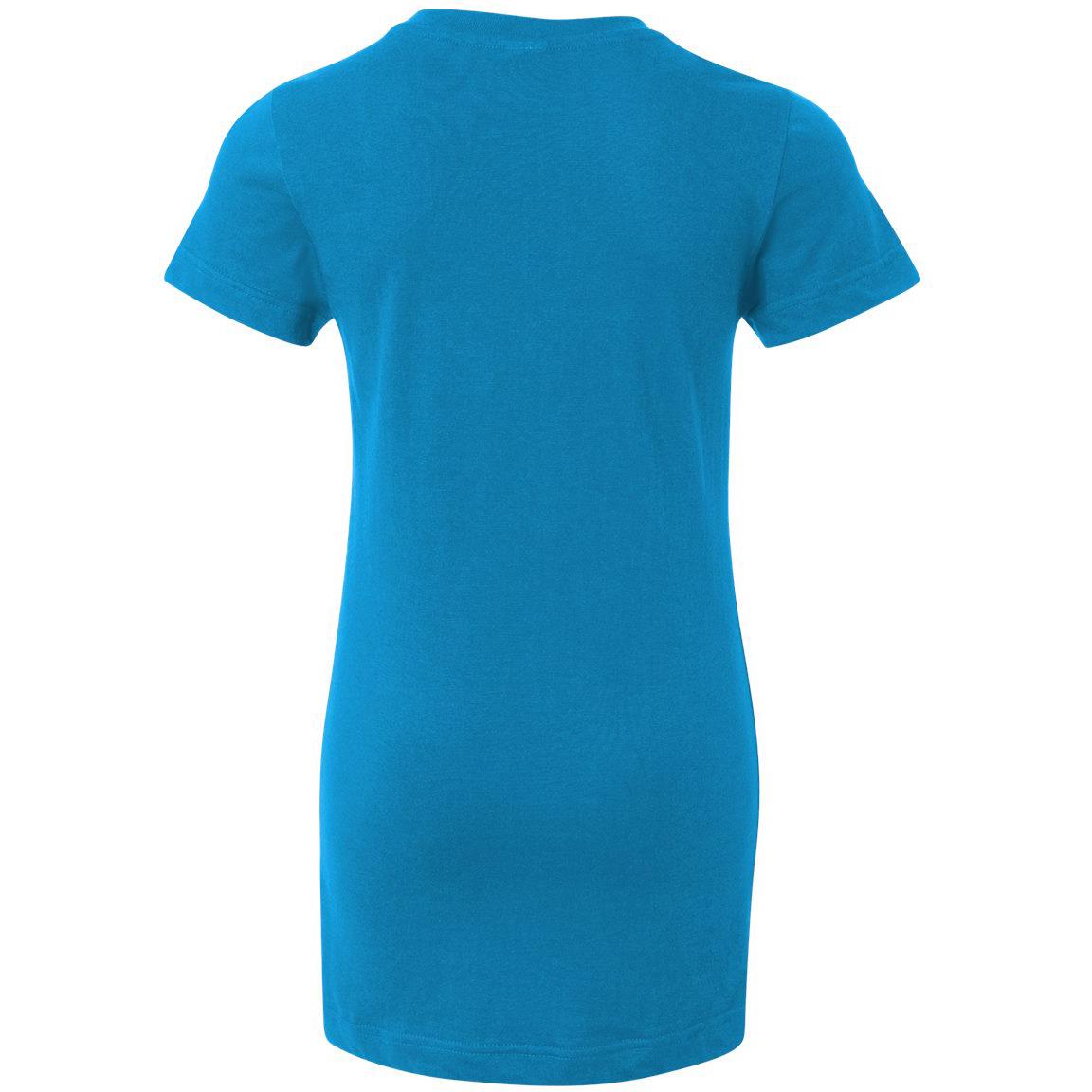 Lat 3607 junior fit fine jersey v neck longer length t for Aqua blue color t shirt