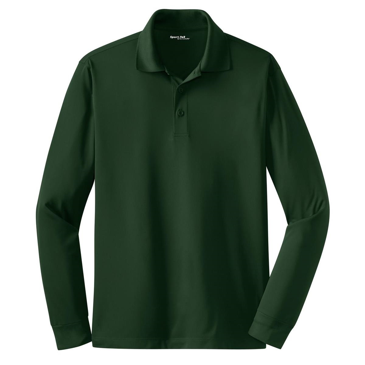 Sport tek st657 long sleeve micropique sport wick polo for Forest green polo shirts