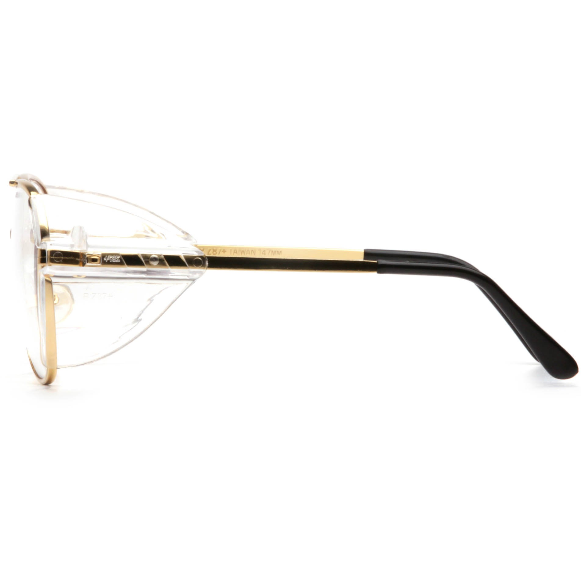 pyramex pathfinder safety glasses gold metal frame clear lens fullsourcecom